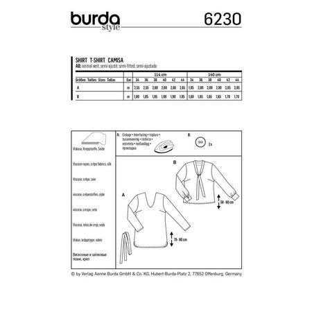 Wykrój BURDA: bluzka zdekoltem wszpic, fig. 8