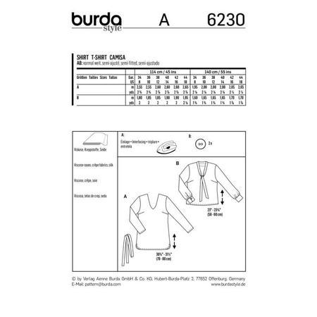 Wykrój BURDA: bluzka zdekoltem wszpic, fig. 9