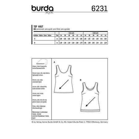 Wykrój BURDA: top zokrągłym dekoltem jedno- lub dwuwarstwowy, fig. 8