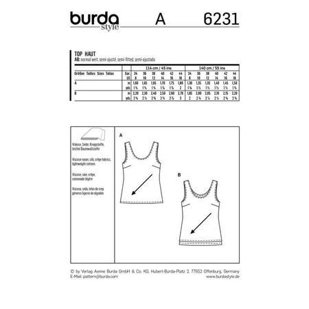 Wykrój BURDA: top zokrągłym dekoltem jedno- lub dwuwarstwowy, fig. 9