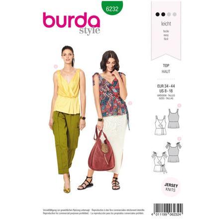 Wykrój BURDA: top kopertowy zelastycznymi lub wiązanymi ramiączkami, fig. 1
