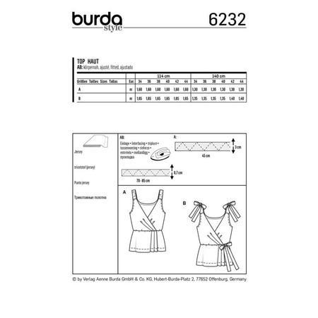 Wykrój BURDA: top kopertowy zelastycznymi lub wiązanymi ramiączkami, fig. 8
