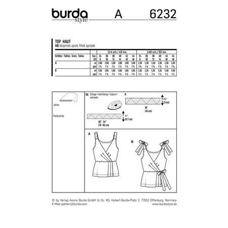 Wykrój BURDA: top kopertowy zelastycznymi lub wiązanymi ramiączkami, fig. 9