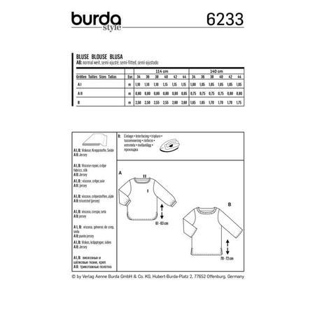 Wykrój BURDA: bluzka zmarszczoną plisą dekoltu i rękawami 3/4, fig. 9