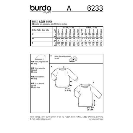 Wykrój BURDA: bluzka zmarszczoną plisą dekoltu i rękawami 3/4, fig. 10