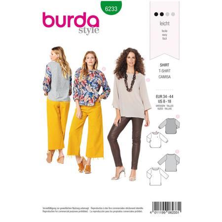 Wykrój BURDA: bluzka zmarszczoną plisą dekoltu i rękawami 3/4, fig. 1