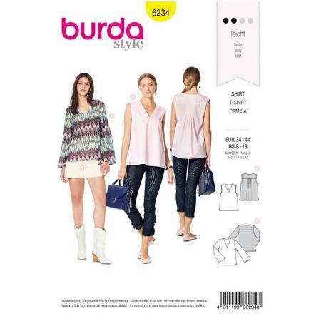 Wykrój BURDA: bluzka itop zdekoltem wszpic, fig. 1