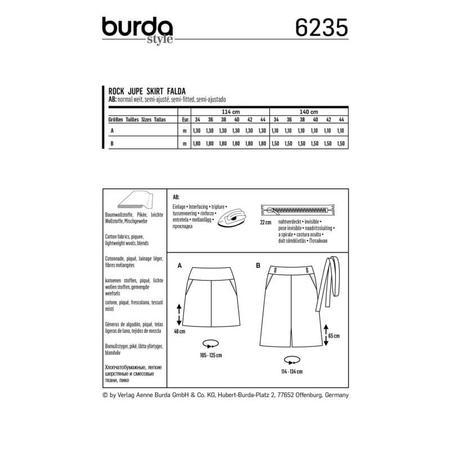 Wykrój BURDA: spódnica zkarczkiem i kieszeniami wkarczku, fig. 8
