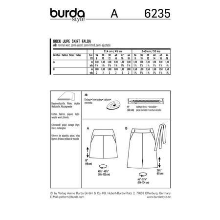 Wykrój BURDA: spódnica zkarczkiem i kieszeniami wkarczku, fig. 9