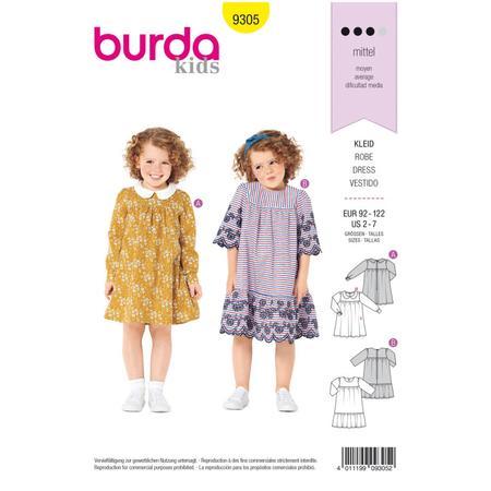 Wykrój BURDA: sukienka zkarczkiem ikołnierzykiem bebe oraz falbanką u dołu, fig. 1