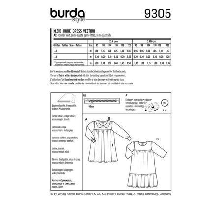 Wykrój BURDA: sukienka zkarczkiem ikołnierzykiem bebe oraz falbanką u dołu, fig. 8