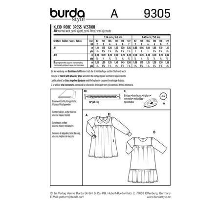 Wykrój BURDA: sukienka zkarczkiem ikołnierzykiem bebe oraz falbanką u dołu, fig. 9