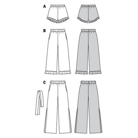 Wykrój BURDA: spodnie lub szorty z gumką w pasie i falbankami przy nogawkach, fig. 10
