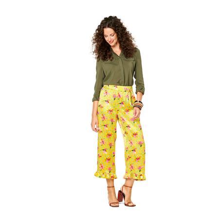 Wykrój BURDA: spodnie lub szorty z gumką w pasie i falbankami przy nogawkach, fig. 3