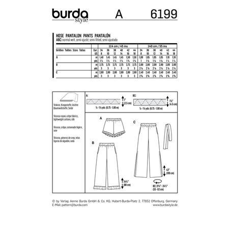 Wykrój BURDA: spodnie lub szorty z gumką w pasie i falbankami przy nogawkach, fig. 9