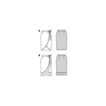 Wykrój BURDA: spódnica kopertową z paskiem i wiązaniami, fig. 9