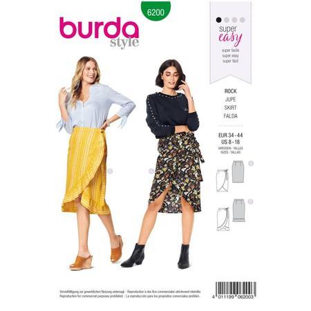 Wykrój BURDA: spódnica kopertową z paskiem i wiązaniami, fig. 1