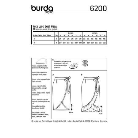 Wykrój BURDA: spódnica kopertową z paskiem i wiązaniami, fig. 8