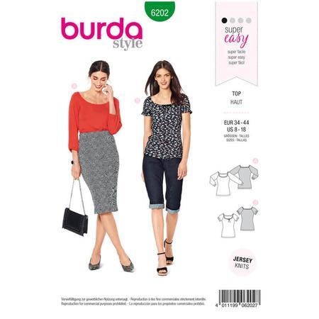 Wykrój BURDA: bluzka zraglanowymi rękawami i szerokim dekoltem, fig. 1