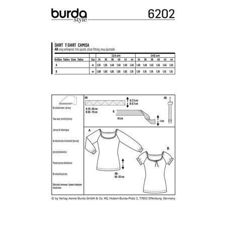 Wykrój BURDA: bluzka zraglanowymi rękawami i szerokim dekoltem, fig. 8