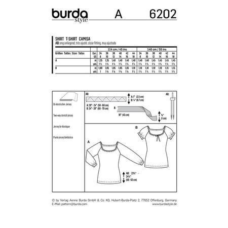 Wykrój BURDA: bluzka zraglanowymi rękawami i szerokim dekoltem, fig. 9