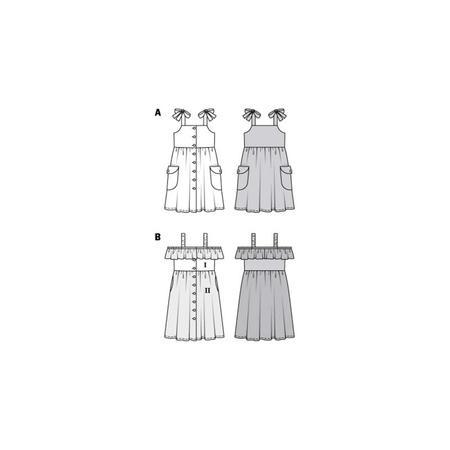 Wykrój BURDA: sukienka na ramiączkach zzapięciem na guziki imarszczoną spódnicą, fig. 10