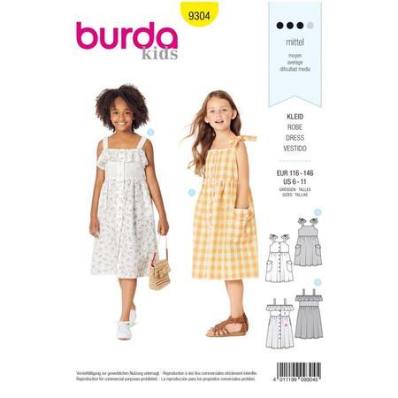 Wykrój BURDA: sukienka na ramiączkach zzapięciem na guziki imarszczoną spódnicą, fig. 1