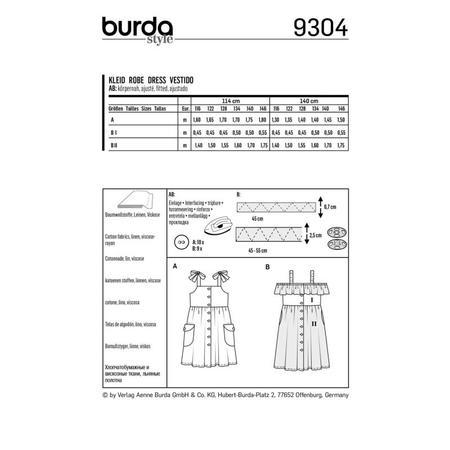 Wykrój BURDA: sukienka na ramiączkach zzapięciem na guziki imarszczoną spódnicą, fig. 8
