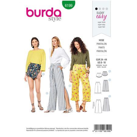 Wykrój BURDA: spodnie lub szorty z gumką w pasie i falbankami przy nogawkach, fig. 1